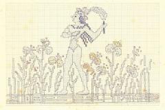 Σχέδιο για υφαντό με μινωικό μοτίβο από σχέδιο τοιχογραφίας «Ο Πρίγκιπας με τα κρίνα», 1924-1940, μολύβι και χρωματιστά κραγιόνια σε τετραγωνισμένο χαρτί, Αρχείο σχεδίων Φλωρεντίνης Καλούτση, Λύκειο Ελληνίδων Χανίων